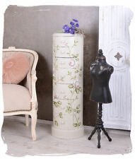 COUNTRY HOUSE STYLE DRUM CHEST OF DRAWERS COLUMN ROSE PAINTING VINTAGE