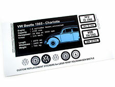 CUSTOM 'DIE CUT' STICKERS for Lego 10187 VOLKSWAGEN BEETLE with BONUS EXTRA'S!