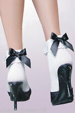 Sexy and Girly Ruffle & Black Bow Ankle Socks -Rockabilly or Nurse Maid