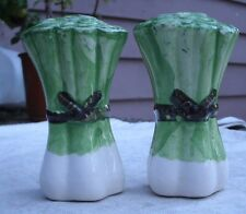 Vintage Bunch of Leeks Salt & Pepper Shaker Set,ceramic,hand painted,1980s -cute
