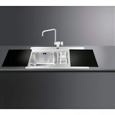 Smeg LI915ND Iris 1.5 Bowl Stainless Steel Inset Sink with Black Glass Chopping