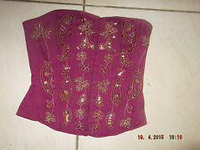 Stunning Womans Rise Strapless Boned Corset Bodice Basque Top - Size 8 - Ladies