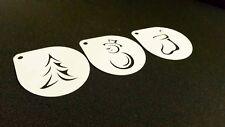 #1.1 Conjunto de 3 un. árbol de Navidad Plantillas Aerógrafo Muñeco De Nieve Calcetín Pastel Spray de Nieve