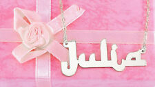 PERSONALIZED ARABIC ENGLISH LOOK SILVER  ANY  NAME PLATE NECKLACE  US SELLER