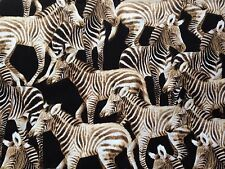 Zebra Cotton Fabric Metre Black White Wild Animal Print Collage Timeless 1m