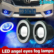 "2x 2.5"" Car LED Fog Light Projector w/ Blue Halo Angel Eye Ring Driving DRL Bulb"