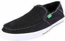 Sanuk Men's Black Standard Slip-on Canvas Lightweight Vegan Shoes NEW Size 13