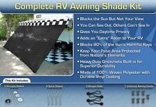 RV Awning Shade Kit Black Motorhome Awning Screen Trailer Kit 8x17