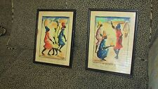 PAIR WATER COLOR PICTURES MID CENTURY FROM NADER ART GALLERY OF HAITI