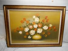 Old Vtg Botanical Oil Painting on Canvas Wood Frame Artist Signed S. Henry