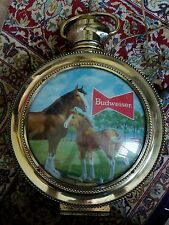VINTAGE Working BUDWEISER Rotating Large Pocket Watch Lighted Sign Clydesdales