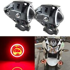 2pcs HID White LED Motorcycle Spot Lights w/ Red COB Angel Eye Red Devil Lights