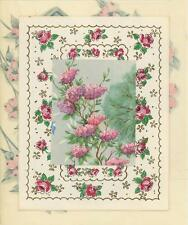 VINTAGE PINK ROSE SHABBY LILAC FLOWERS CHIC TREE NAIVE COLLAGE PICTURE ART PRINT