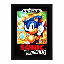 Sega Genesis SONIC THE HEDGEHOG GAME  Box Cover Framed Photo Game Room Mancave