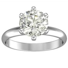 1.00 ct ROUND CUT solitaire diamond engagement Ring 14k WHITE GOLD H COLOR SI1
