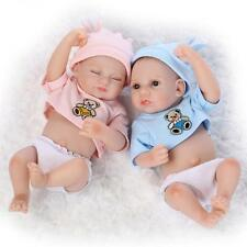 "2pcs 11"" twins BOY AND GIRL soft silicon vinyl dolls Reborn babies dreaming doll"