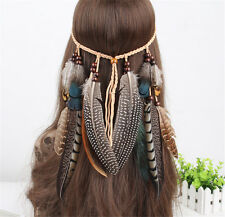 Indian Feather Headband Handmade Weave Feathers Hair Rope Headpiece Hiairband