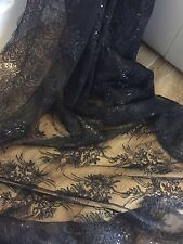 5 MTR BLACK SCALLOPED EMBROIDED SEQUENCE CRYSTAL BRIDAL LACE NET FABRIC £39.99