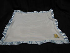 Classic Pooh Security Blanket Blue & White Stripe Lovey Satin Trim Cotton 16 X20