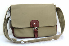 "Khaki Vintage Canvas Laptop Notebook 13"" Multi Use Messenger Bag Case Shoulder"