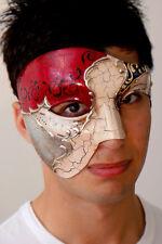 Masquerade Mask Phantom OVERNIGHT Metro Del -Italian Made- Silver Vivaldi Mens