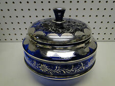 """Old Italian 8"""" Round Covered Silver Deposit Overlay Blue Glass Jar Candy Dish"""
