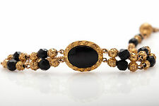 Antique Etrsucan 1830s ONYX Gem 10k Yellow Gold Georgian Bracelet