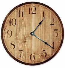 "RUSTIC TAN WOOD Clock - Large 10.5"" Wall Clock - 2026"