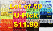 "Lot 50 Crochet Headbands Baby Girls 1.5"" U Pick Colors!"