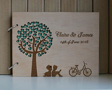 wood wedding guest book A5 love tree, wedding guest book, personalized album