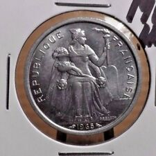 UNCIRCULATED 1965 2 FRANC FRENCH POLYNESIA COIN (82416)
