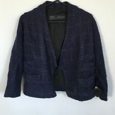 BNWT ZARA BLUE BOUCLE WOOL MIX CHAIN DETAIL TWEED FANTASY STYLE JACKET S 8 Z575