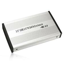 3.5 inch Silver USB 2.0 SATA External HDD HD Hard Drive Enclosure Case Box #Cu3