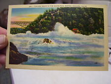 1940's UNUSED POSTCARD BIG WAVE IN WHIRLPOOL RAPIDS, NIAGARA FALLS NY