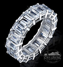 9 ct Emerald Cut Eternity Ring Top CZ Imitation Moissanite Simulant SS Size 9