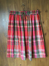 M&S CHECKED A-LINE SKIRT Red & Pink Boho Gypsy UK 12-14 / EUR 40-42 - VGC