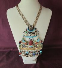 Vintage Signed DI ORIOS Egyptian Revival Scarab Beetle Eye Of Horus Necklace