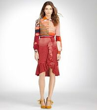 $395 BRAND NEW TORY BURCH Opalina ruffled silk skirt in red 100% silk, SIZE 0