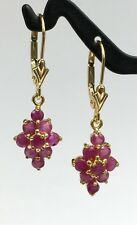 14k Solid Gold Leverback Diamond Shape Dangle Earrings, Natural Ruby 1.5TCW