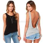 Women Back Deep V Sexy Backless Vest Tank Sleeveless Slim Fit Tops Blouses