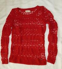 Hollister Holiday Red Long Sleeve Knit Sweater Medium Nylon Wool NWOT