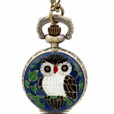 Vintage Brozne Alloy Enamel Night Owl Quartz Pocket Watch Pendant Chain Necklace
