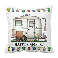Happy Campers Cotton Linen Pillow Square Case Throw Cushion Cover Home Decor