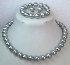 12MM Gray Shell Pearl Round Beads Necklace Bracelet/ Earrings Set