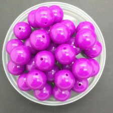 NEW 8mm 50Pcs DIY Acrylic Round Pearl Spacer Loose Beads Jewelry Making Purple