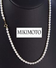 Mikimoto 18K Yellow Gold 95 Oval Akoya Cultured 3.6- 4.1mm Pearl Necklace 16''