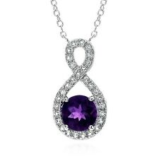 1.20 Carat Natural Amethyst & White Topaz Pendant in Sterling Silver with C