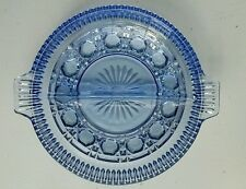 Vintage Amethyst Purple Sapphire  Blue Depression Glass 2 Section Relish Dish