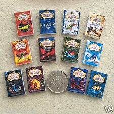 "SET of 12 DOLLS HOUSE MINIATURE BOOKS ""How to Train Your Dragon"" Handmade 1:12th"
