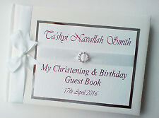 PERSONALISED WHITE CHRISTENING GUEST BOOK - ANY COLOUR